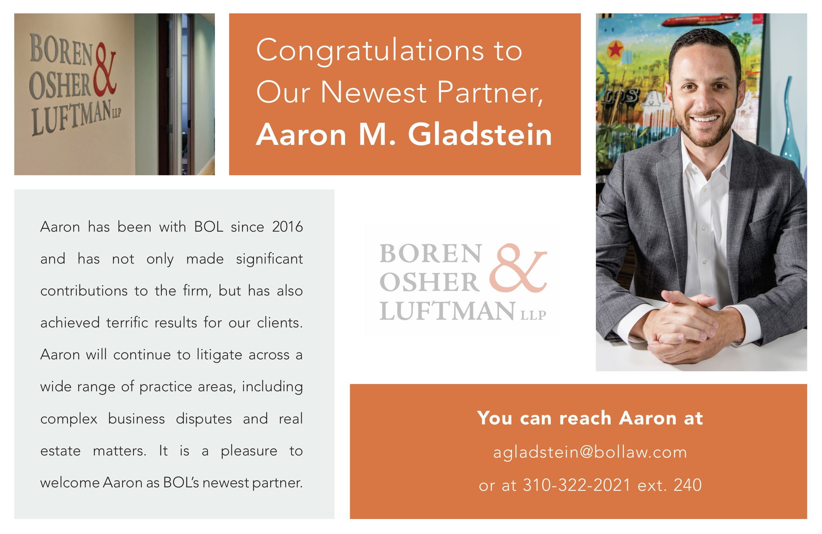 Congratulations to Our Newest Partner, Aaron M. Gladstein